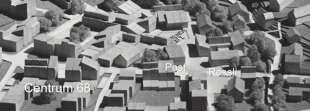 Modell für die Zentrumsplanung, wie sie sich Architekt Walter Moser im Jahre 1969 vorgestellt hat.