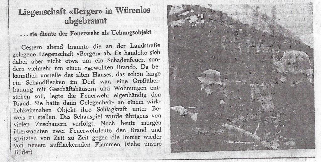Bericht im Badener Tagblatt über die Feuerwehrübung am Bergerhaus. ( 1967/68).