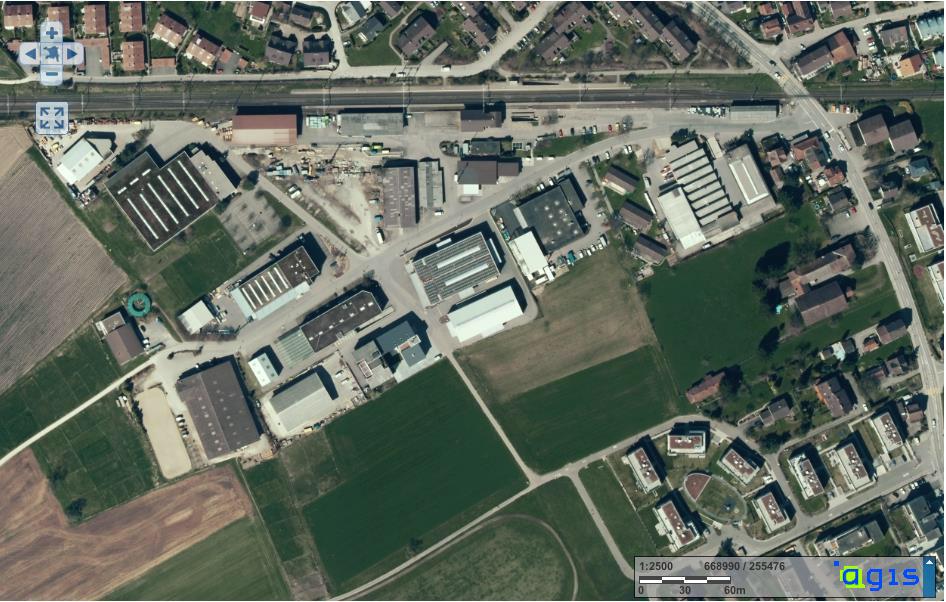 Der Entwicklungsrichtplan betrifft fast das ganze Gebiet zwischen Bahnlinie (oben), Landstrasse (rechts) und Hürdlistrasse (unten). (Bild aus der Publikation der Gemeinde).
