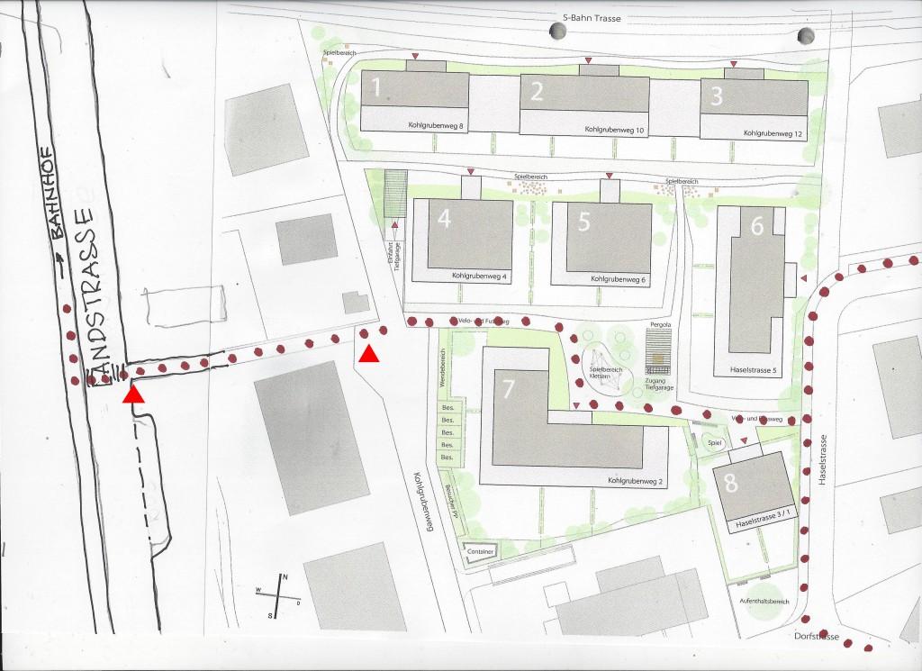 In der neuen Fussweg-Verbindung zwischen Dorf- und Landstrasse fehlt das kurze Teilstück zwischen den roten Pfeilen.