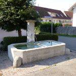 Brunnen, Jg. 1857, am Oberwiesenweg im Kempfhof. Die beiden runden Steine seitlich verhinderten die Beschädigung des Troges durch Fuhrwerke.